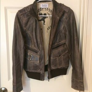 NWOT Brown 100% Leather Jacket
